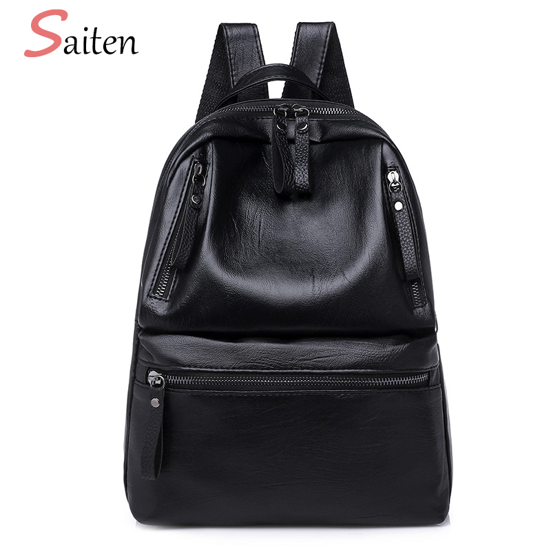 New PU Leather Women Backpacks Large Capacity School Bags For Teenager Girls Fashion Solid Backpack Female Black Rucksacks 2018 wellvo women solid vintage backpacks for teenager girls black multifunctional backpack new designed high quality rucksack xa84wb