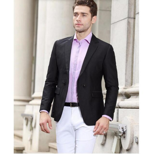 Мужчины Пиджак Новое Прибытие С Двойной дизайн Кнопки Сплошной Цвет Slim Fit Формальный Стиль Деловой Костюм высокого качества на заказ