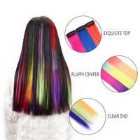 20 ''syntetyczne włosy hombre Clip w jednym kawałku dla dziewczynek i dzieci długie proste wiele treski włókno termoodporne