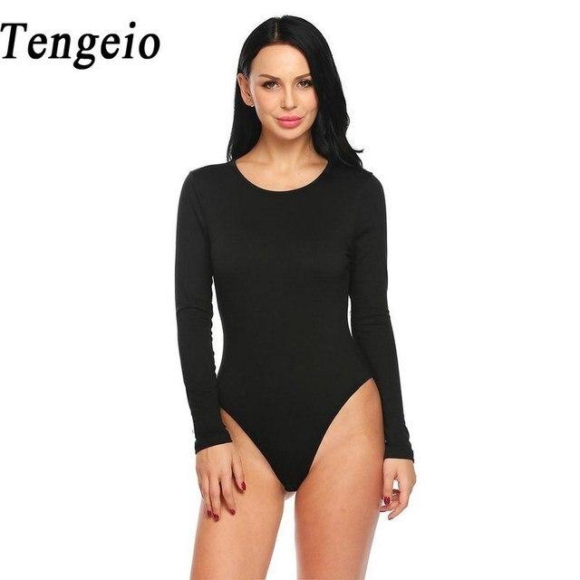 Tengeio Long Sleeve Black White Bodysuit Womens Romper Fashion Open Crotch  Bodysuits Skinny Jumpsuit Overall Body Top ZL30 c5321343f
