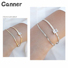 Canner 925 Sterling Silver Gold Color Double Layer Bracelets AAAA Zircon Big Square Stone Adjustable Bracelets For Women Jewelry недорого