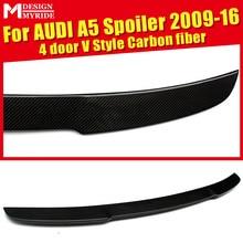 For Audi A5 A5Q Carbon Spoiler V Style Carbon Fiber rear spoiler Rear trunk Lid Boot Lip wing A5 4-Doors car styling 09-16 стоимость