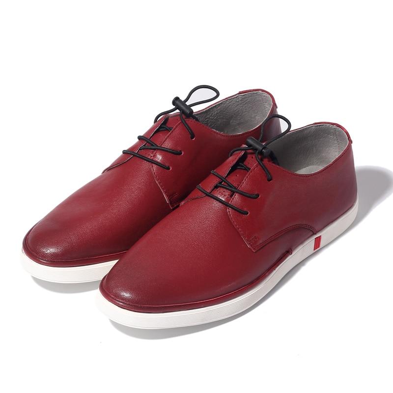 Hommes En Black Chaussures Cuir Garçons Plein white Lacent La Sneakers Véritable Blanc À Souple De Casual Mocassins Air Mode Étudiants red EH29IeDYW