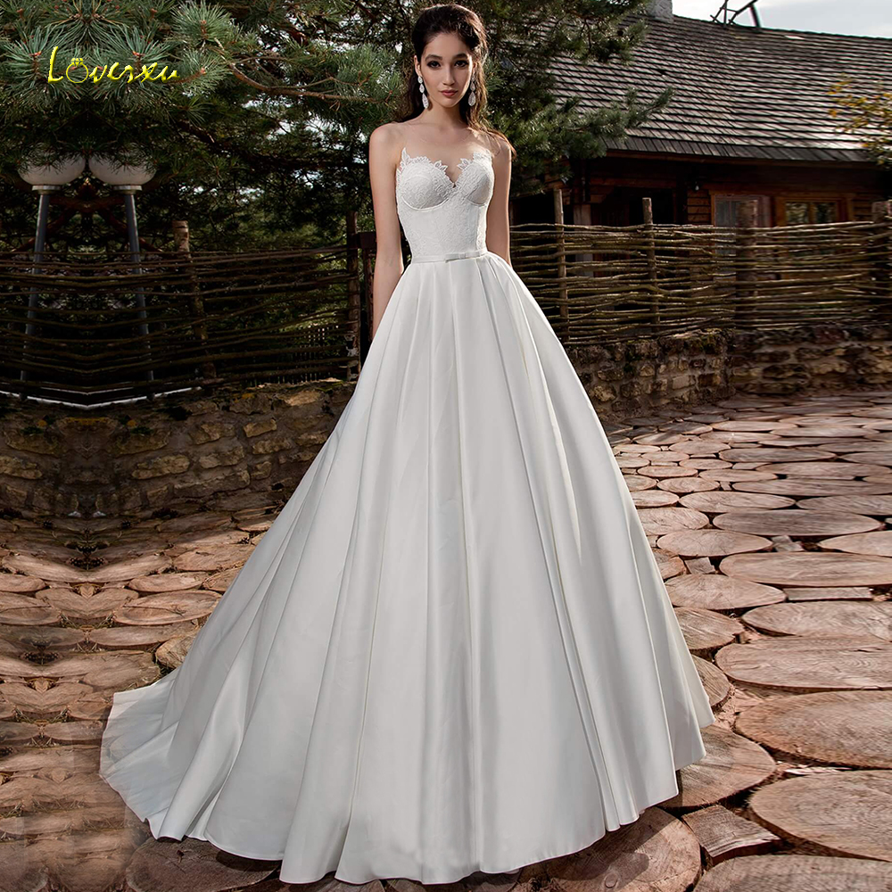 Loverxu Illusion Scoop A Line Wedding Dress 2019 Demure Applique Tank Sleeve Bride Dress Sweep Train Satin Bridal Gown Plus Size