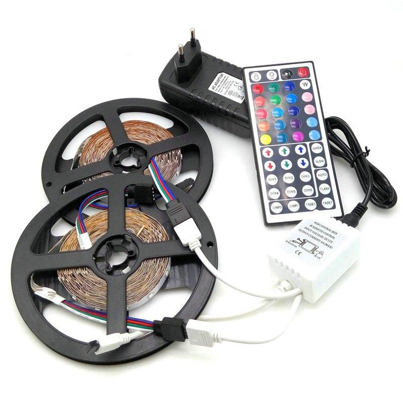 IP20 / IP65 waterproof RGB LED Strip light DC 12V 5M 10M LED lighting 3528 5050 SMD LED lamp Tape 3A Power Adapter + IR Remoter