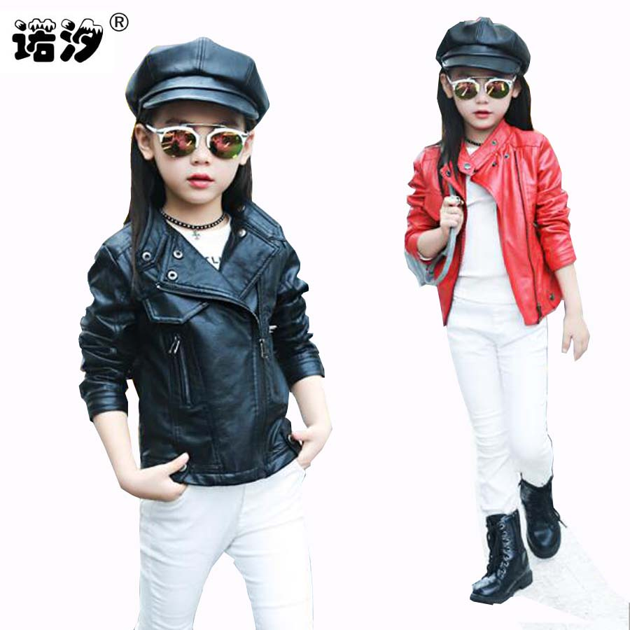 Jakke jakke til piger høj kvalitet kort stil PU læder jakke Efterår og sommer børn tøj barnetøj jakke til piger 4-15Y