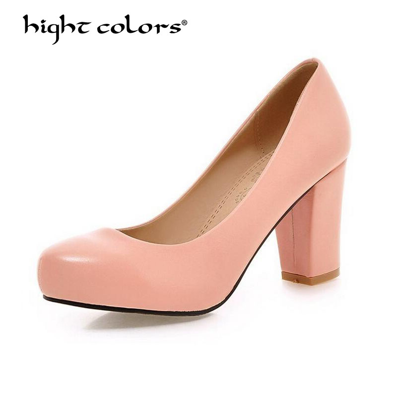 Plus Size 31~44 Women Shoes Ladies High Heels Gold Silver Wedding Shoes Spring Thick Heel Pumps Shoes Black Pink Beige FY 695