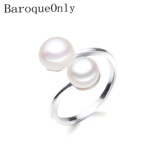 BaroqueOnly DOUBLE Pearls Ring Silver Interlaced Rings Freshwater Pearl Wedding Ring 925 Sterling Silver Jewelry for Women Gift(China)