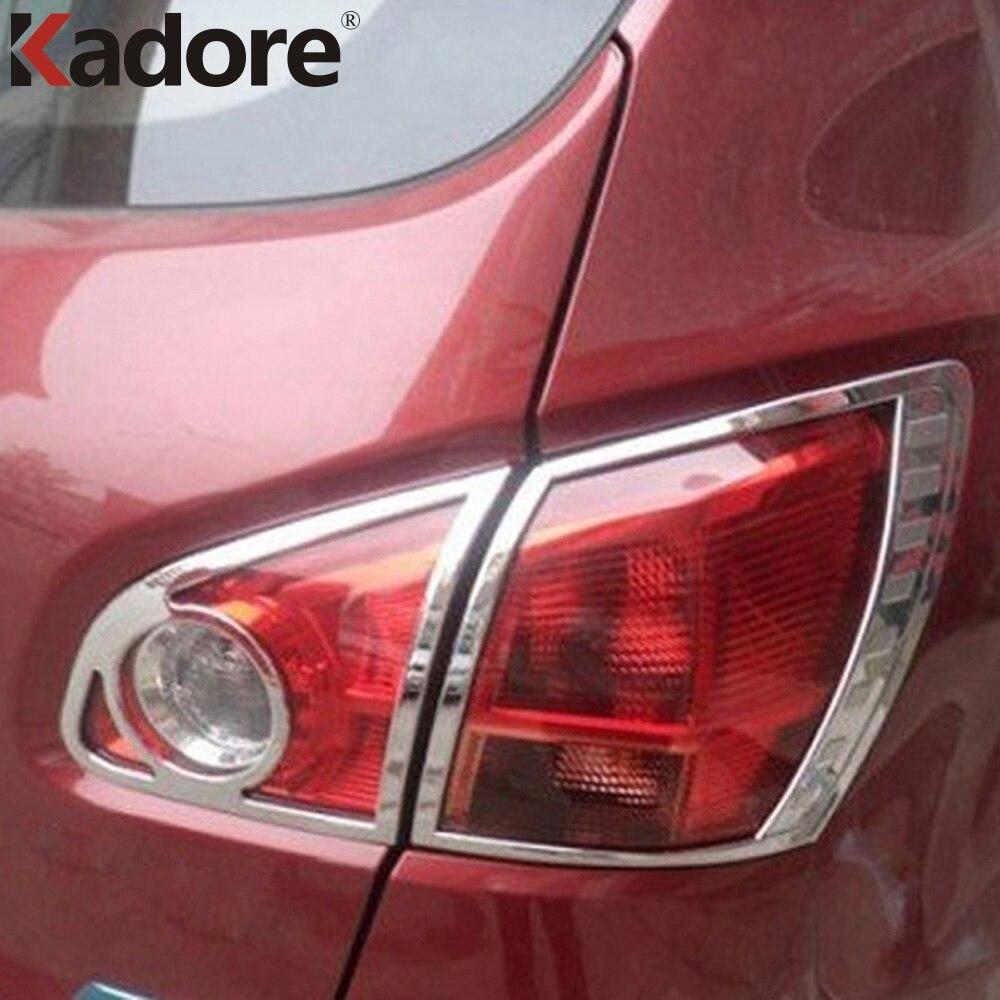 Pour Nissan Qashqai 2007-2013 Chrome après phare lampe couvercle garniture feu arrière feux arrière garnitures de lampe accessoires