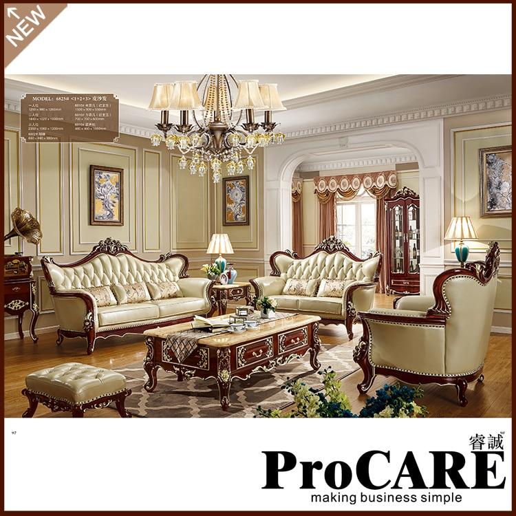 Procare Company style européen classique trois places en cuir salon canapé ensemble 1 + 2 + 3