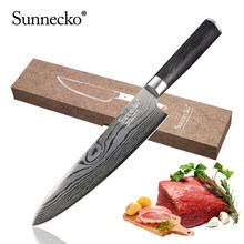 "SUNNECKO 8"" Chef Knife Stainless Steel Blade Sharp Sanding Laser Damascus Pattern Kitchen Knives Pakka Wood Handle Cooking Knife(China)"