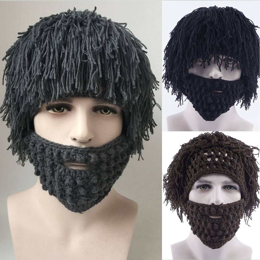 eb4f9d8dbfd Detail Feedback Questions about 2018 Winter Warm Beard Hat Mustache Cosplay Barbarian  Hats Looter Knit Crochet Beanie Cap Mad Scientist Caveman Tassel ...