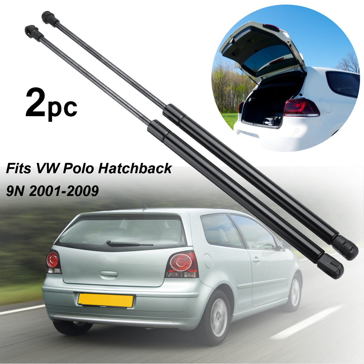 2Pcs Car Tailgate Boot Gas Struts Support Lifters For VW for Polo Hatchback 9N 2001-2009 6Q6827550C