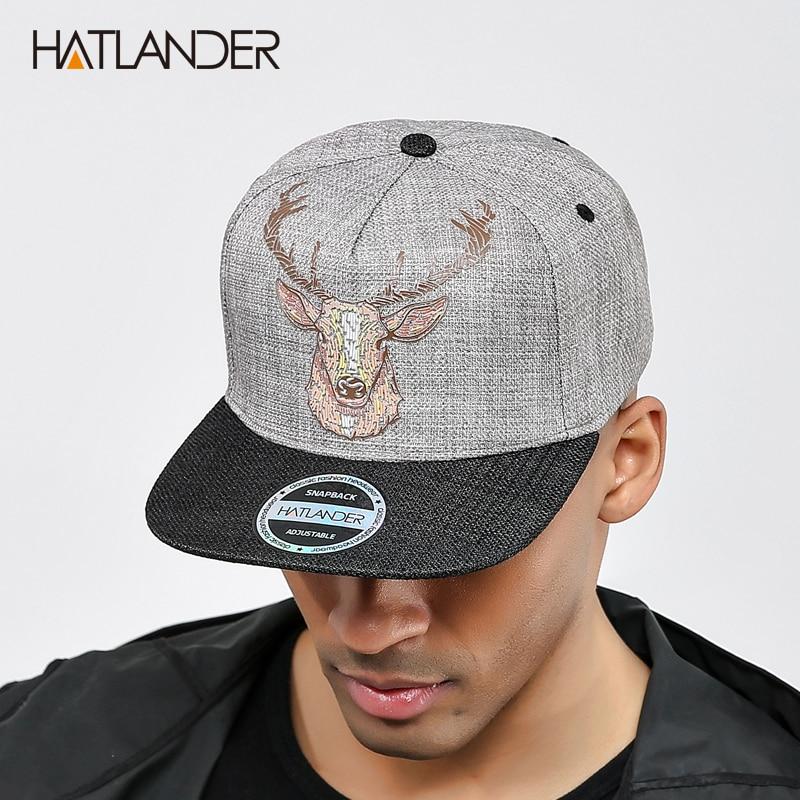 [HATLANDER]Original Quality street style snapback   cap   men hats vintage deer printing women   baseball     caps   gorras bone hip hop hat