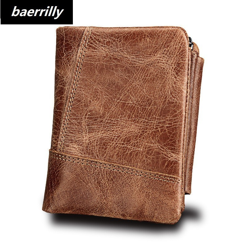 Brand Design Genuine Leather Men Wallets Man Famous Small Short portomonee with Coin Zipper Mini Male Purses Card Holder Walet