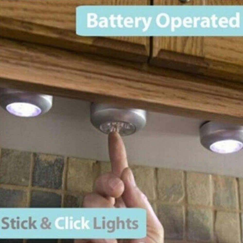 4 светодиодный Ночной светильник с сенсорным управлением, круглая лампа под шкаф, шкаф, нажимная палочка, лампа для дома, кухни, спальни, автомобиля