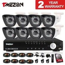 """Tmezon 1/3 """"Color CMOS con Ir-cut 1200TVL 8CH HDMI DVR Sistema de Cámaras de Seguridad CCTV de la Bala con 2 TB"""