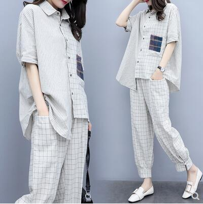 Summer Plaid Two Piece Sets Outfits Women Plus Size Short Sleeve Shirts And Pants Suits Casual Fashion Loose 2 Piece Sets Mujer 26