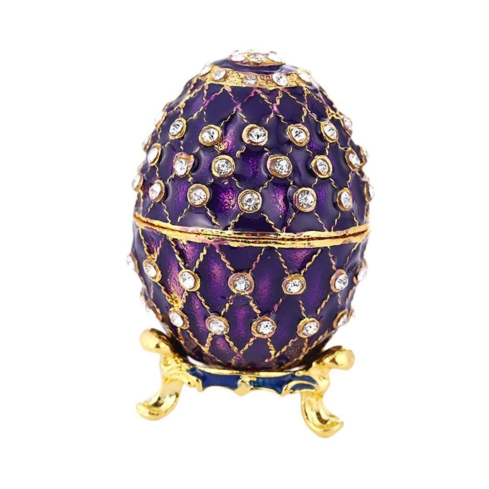 Purple Faberge Style Egg Shaped Jewelry Trinket Box Wedding Metal Jewelry Case Trinket Boxes Diamond Package Children Gift