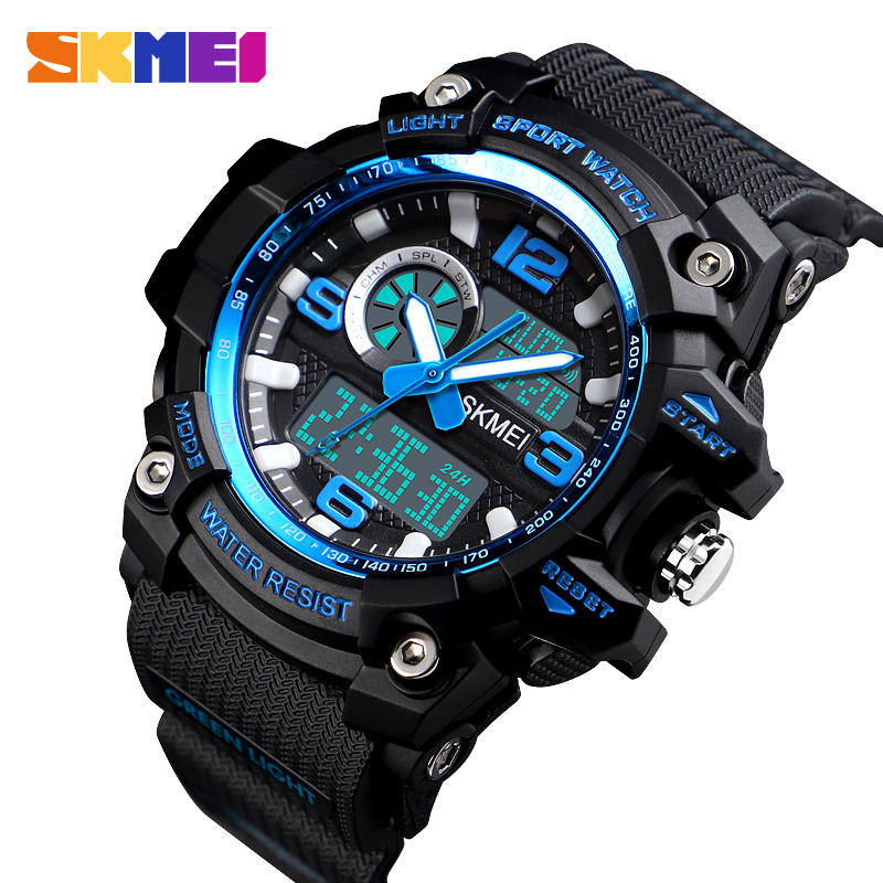 Dual Display Digital Watches Men Waterproof Outdoor LED Sports Watch Multi-function Military Wristwatches Reloj Hombre SKMEI