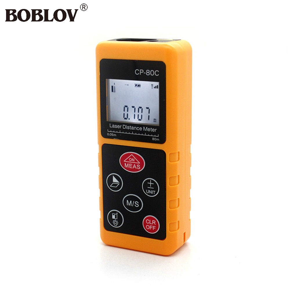 BOBLOV 80m/262ft/3150in Laser Distance Meter Measuring Tape Pythagorean Mode Range Finder Measure Area Volume LCD Display qldz01 1 5 lcd display range finder distance measuring wheel black yellow silver 2 x aaa