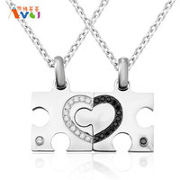 AMGJdk Rhinestone Heart Puzzle Necklace For Women Men Pendant Couple Necklaces Lover Friendship Jewelry A Piece