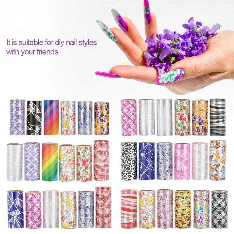 6PcsSet Nail Stickers Glitter Nails Tools Foils Nail Art Decals Decoration Nails Accessories