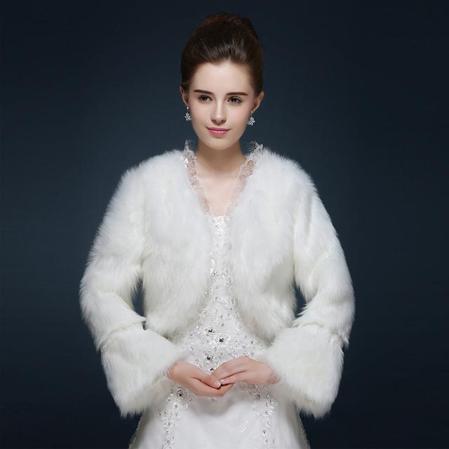 Laço Nupcial Bolero Mariage vestido de Inverno de Manga Comprida Casaco Curto Casamento Capes Noite White Party Casamento da Pele Do Falso Envoltório Ombro 2017