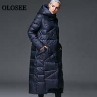2018 New Women's Winter   Down   Jackets Female Extra Long Hooded   Down     Coat   High Quality Thick Warm White Duck   Down   Parka / UV1289