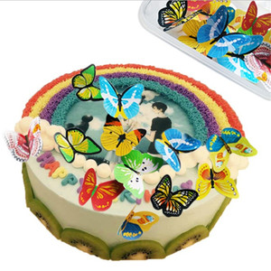 Image 2 - TTLIFE 42pcs/lot Butterfly Edible Glutinous Wafer Rice Paper Cupcake Toppers For Cake Decoration Birthday Wedding Cake Tools