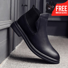 OSCO 2018 Autumn new Brand Casual leather boots Slip On Men shoes British men's Martin Fashion Chelsea boots