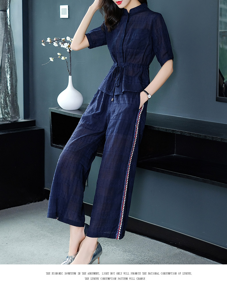 2019 Summer Two Piece Sets Outfits Women Blue Pink Short Sleeve Tunics Tops And Wide Leg Pants Suits Office Elegant 2 Piece Sets 54
