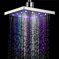 LED Colorful Top Spray Temperature Controlled Rain Shower Head 8 Inch Square Color Top Spray Bathroom Shower Accessories