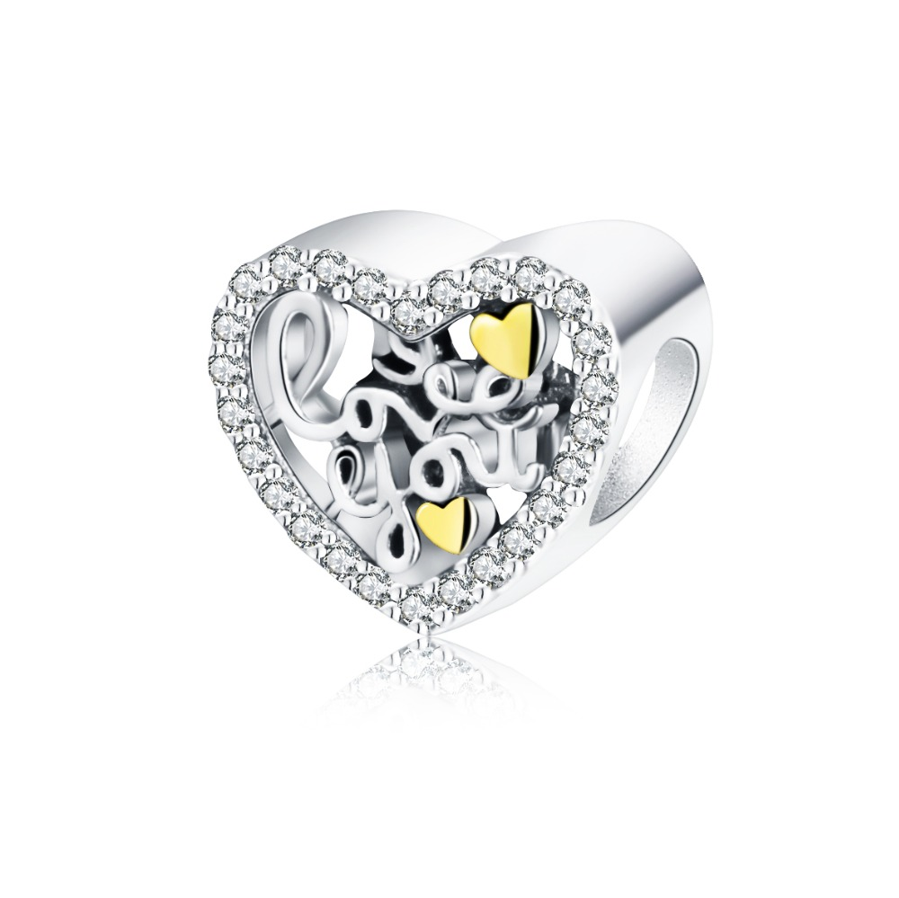 925 Sterling Silver Love You Charm Beads Fit Original
