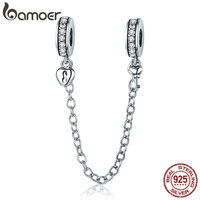 BAMOER Authentic 925 Sterling Silver Stackable Heart Love Heart Dangle Safety Chain Charm Fit Charm Bracelet