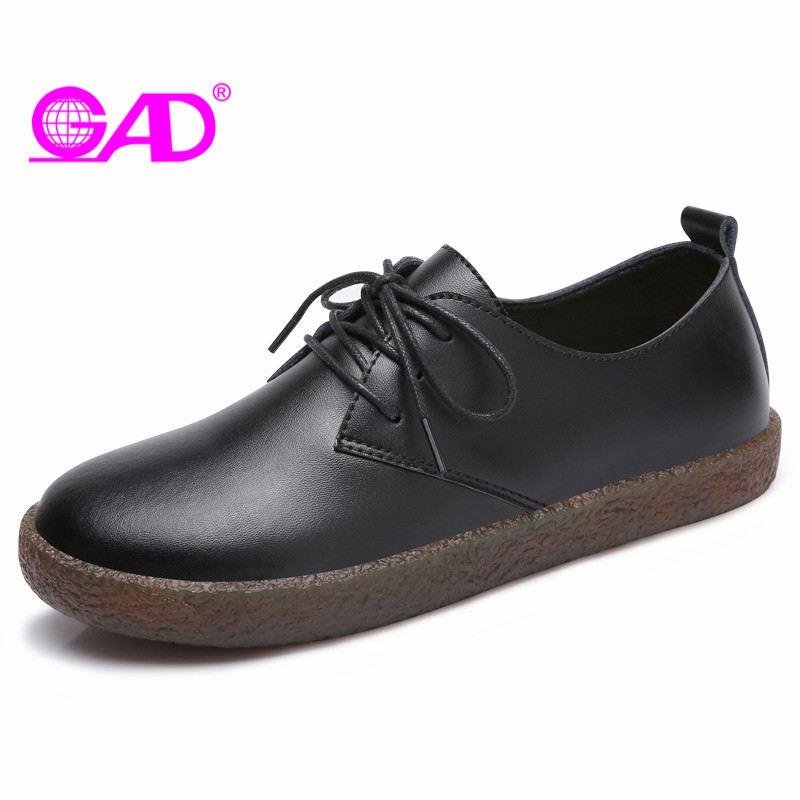 GAD Genuine Leather Flats Shoes Women Oxford Fashion Women Casual Moccasins Lace Up Ladies Shoes Non-slip Sneakers Women weideng shoes women genuine leather cow suede casual oxford flats lace up non slip breathable fashion loafers zapato autumn