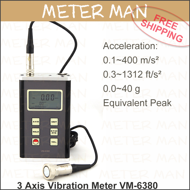 US $840 0 |Vibrometer Vibration Analyzer 3 Axis Piezoelectric Accelerometer  3D Vibration Meter USB Data output VM 6380-in Speed Measuring Instruments
