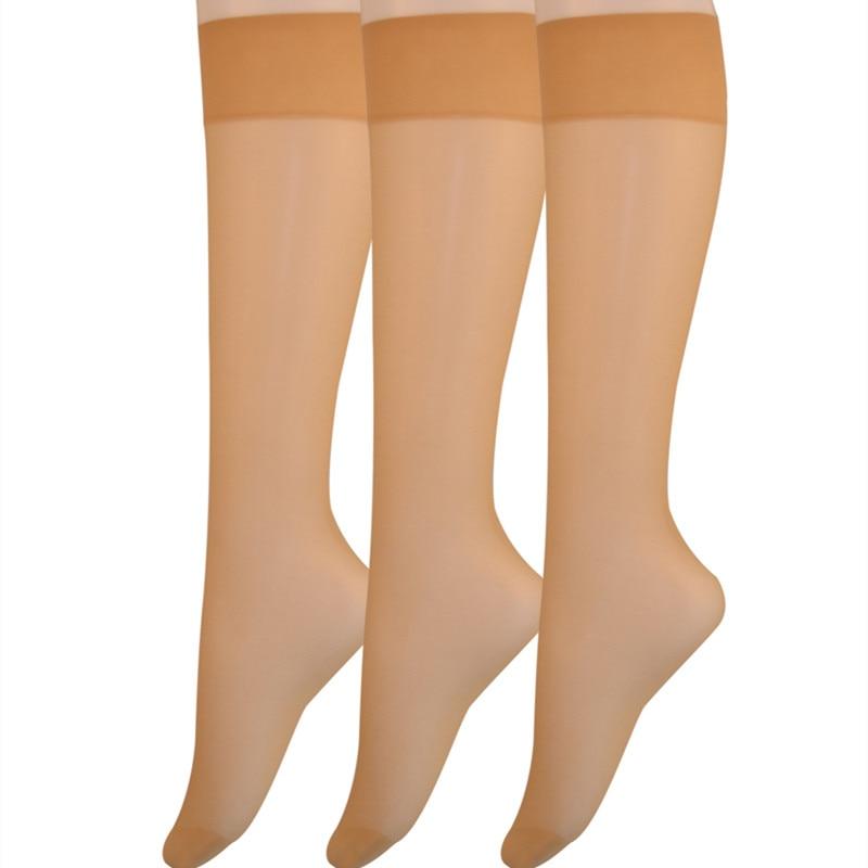 2019 Spring/Summer Women's 6 Pair Pack 20D Silky Sheer Knee Hi Nylon Socks Over The Knee Socks Women Knee High Socks