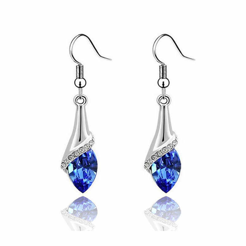 MISANANRYNE Hanging Earrings 11 Colors Austria Crystal Horse Eye Stone Drop Earrings For Women boucle d'oreille Wholesale