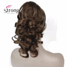 StrongBeauty 12″ Curly Synthetic Clip In Claw Ponytail Hair Extension Synthetic Hairpiece 125g with a jaw/claw clip