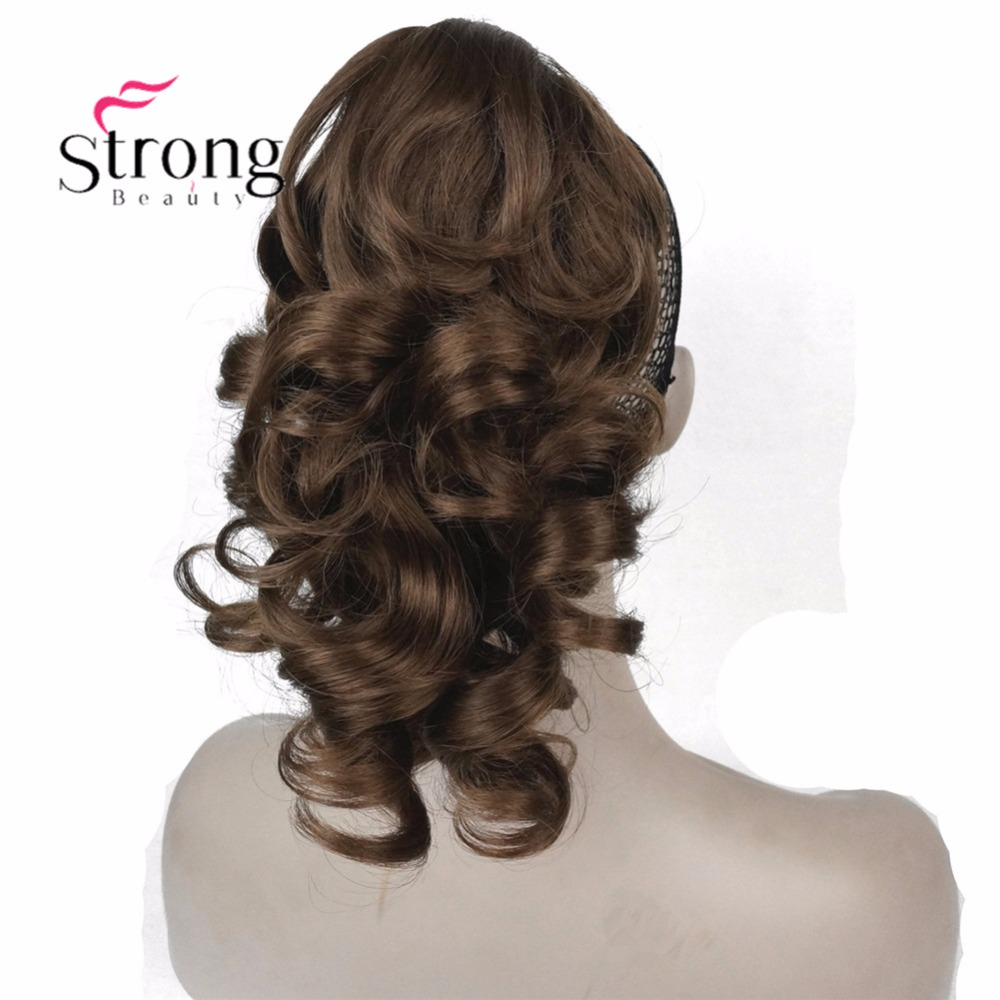 "StrongBeauty 12"" Curly Synthetic Clip In Claw Ponytail Hair Extension Synthetic Hairpiece 125g with a jaw/claw clip"