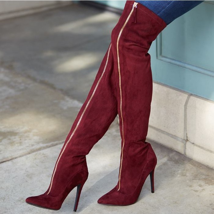 2018 autumn winter boots women red pointed toe knee high boots gold zipper sexy boots fashion womens stretch boots free ship red sexy stretch waistband tracksuit