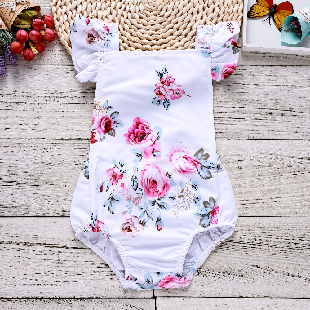 Bubble Ruffle Floral Romper Summer Romper Baby Onesie Infant Girl Baby Clothes Newborn Girl Baby Girl Stuff 1St Birthday Outfits