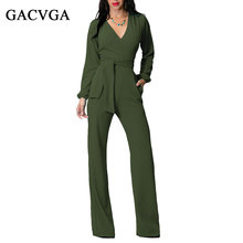GACVGA Long Rompers Sexy Women Jumpsuit Winter Autumn Party V-neck Maxi Overalls Belted Wide Leg Bodysuit Club Pants