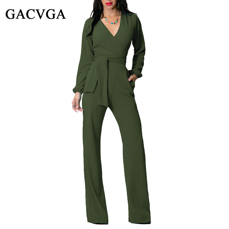 GACVGA Long Rompers Sexy Women Jumpsuit Vinter Høst Party V-hals Maxi Overalls Belted Wide Leg Bodysuit Club Bukser