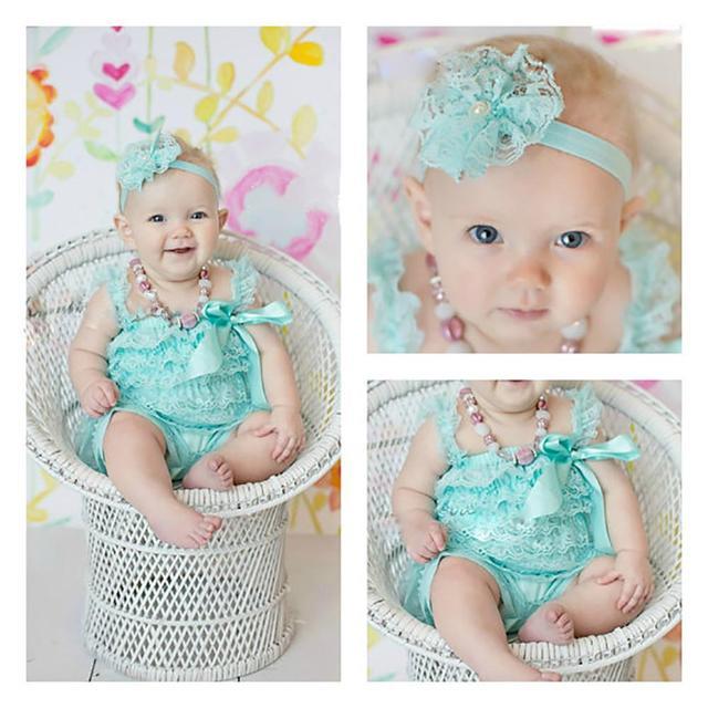 Zcaynger Baby Mädchen Kleidung Baby Blaue Rüschen Spitze Romper Kleinkind Kinder Overall Neue Geboren Baby 1th Geburtstag Foto Outfit
