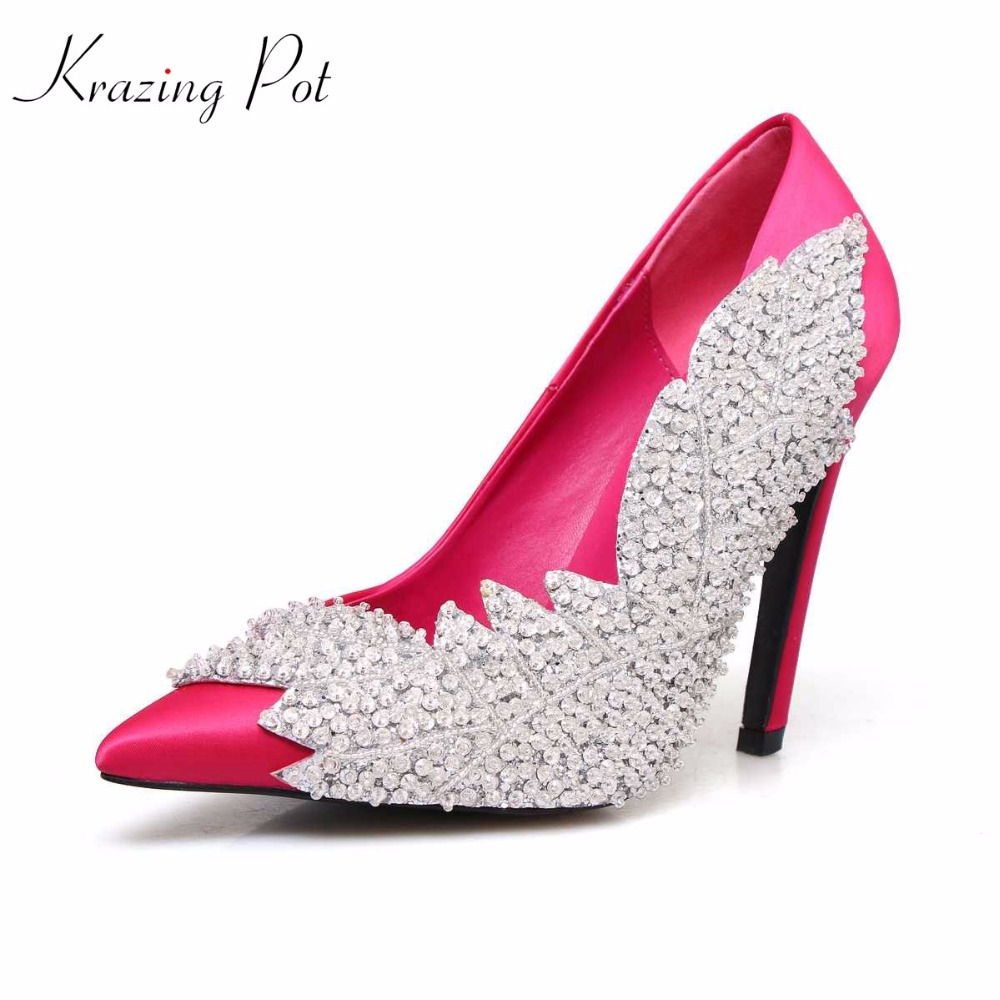 krazing Pot 2018 silk sexy super high heels stiletto gladiator pointed toe party wedding crystal beading pumps luxury shoes L16 luxury crystal wedding shoes pointed toe high heels sexy party pumps stiletto vintage white flowers big size 43 34 transparent