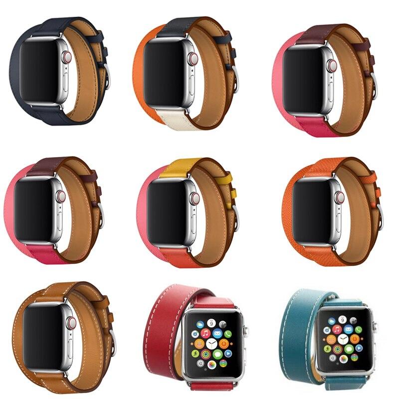 Serie 4/3/2/1 Länger echt Lederband Für Apple Uhr band Armband Doppel Tour link armband Leder 38mm 42mm 40mm 44mm
