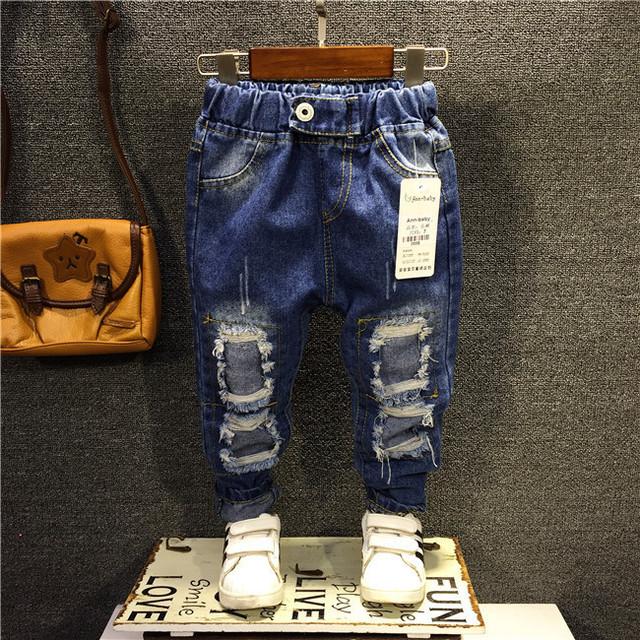 2017 Niños de La Manera Pantalones Del Bebé Primavera Ripped Jeans