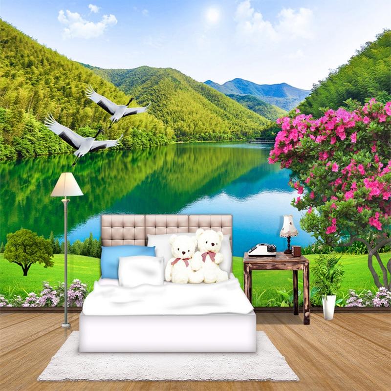 Custom 3D Photo Wallpaper HD Forest Mountain Lake Natural